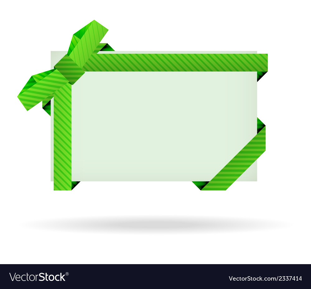 Green gift card with dashed ribbon and dashed bow vector | Price: 1 Credit (USD $1)