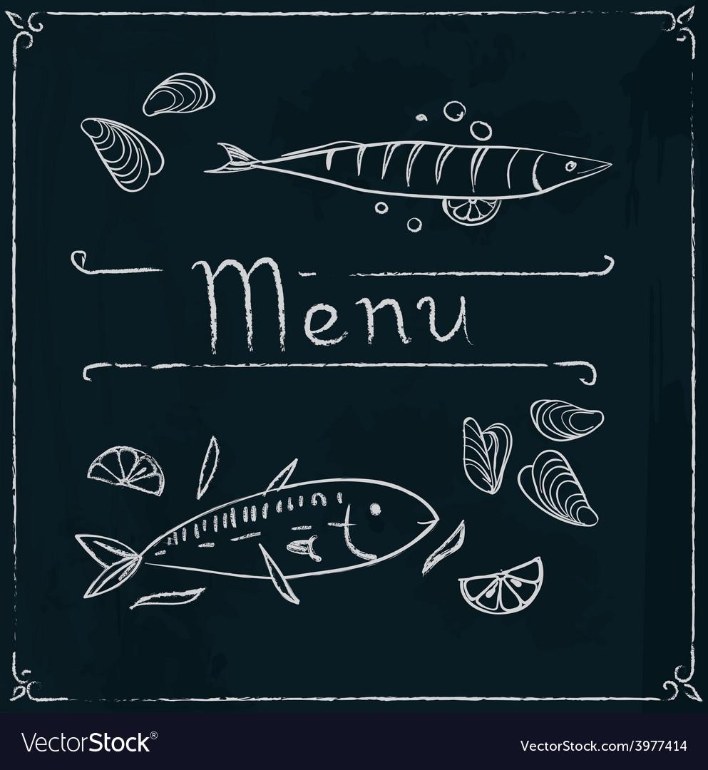 Hand drawn seafood on blackboard vector | Price: 1 Credit (USD $1)