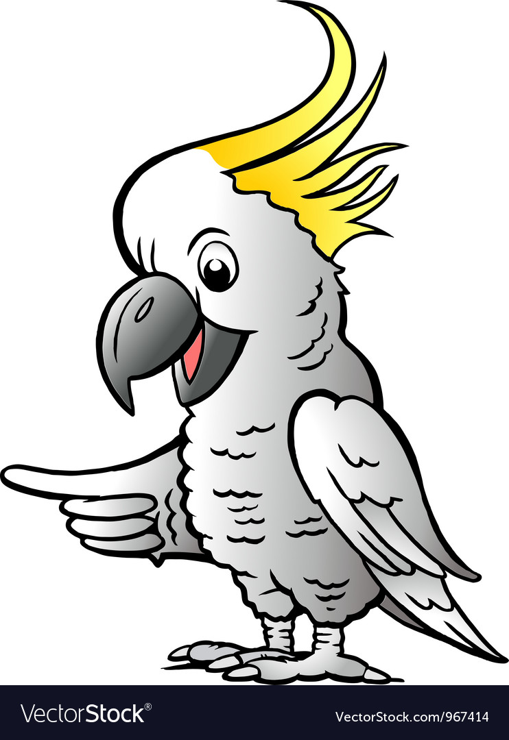 Hand-drawn of an sulphur crested cockatoo vector | Price: 1 Credit (USD $1)