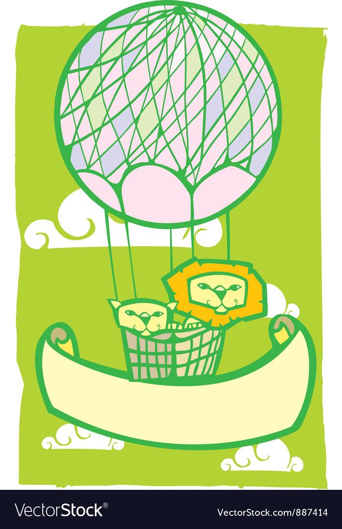 Happy lion balloon banner vector   Price: 1 Credit (USD $1)
