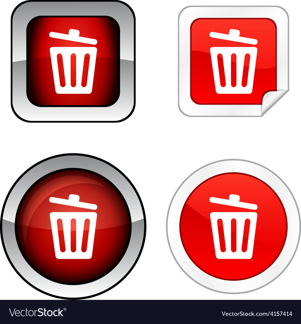 Recycle bin button set vector | Price: 1 Credit (USD $1)