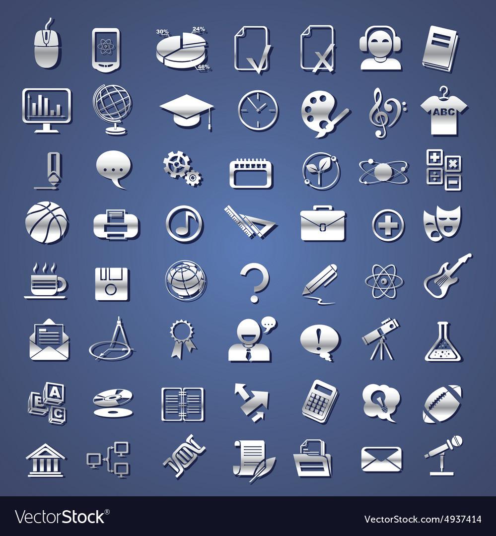 Silver school college education icons vector