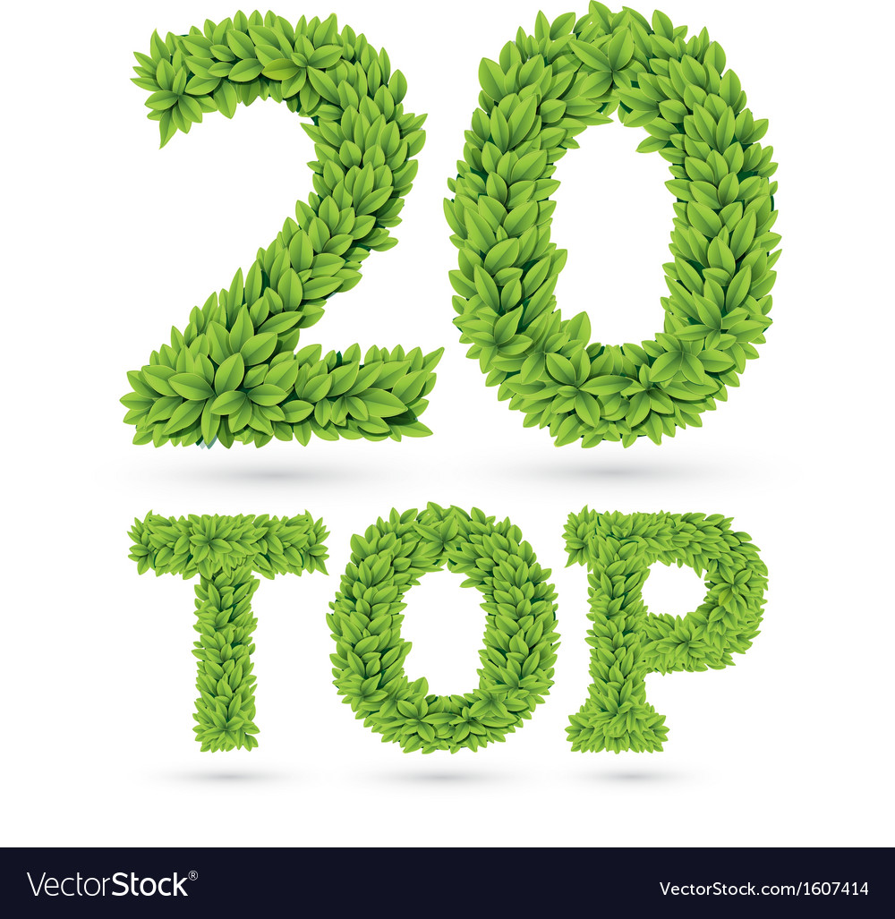Top twenty word made of green leafs vector | Price: 1 Credit (USD $1)