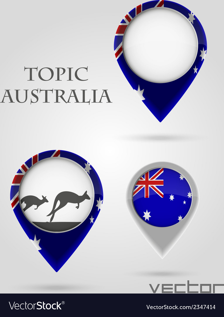 Topic australia map marker vector | Price: 1 Credit (USD $1)