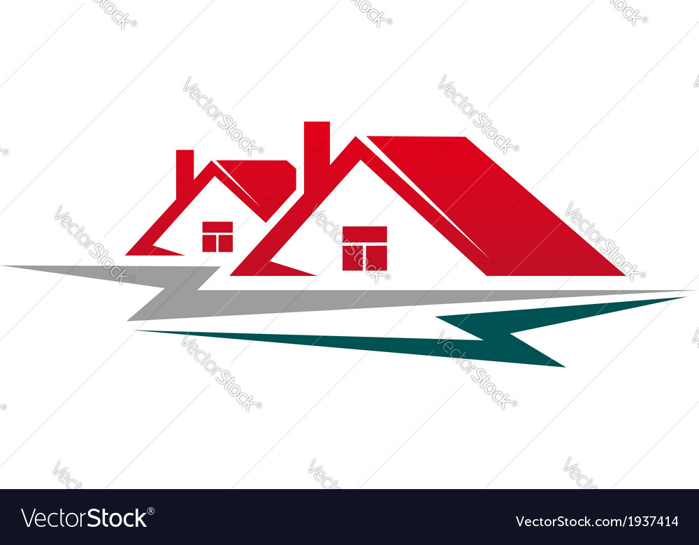 Two residential houses symbol vector | Price: 1 Credit (USD $1)