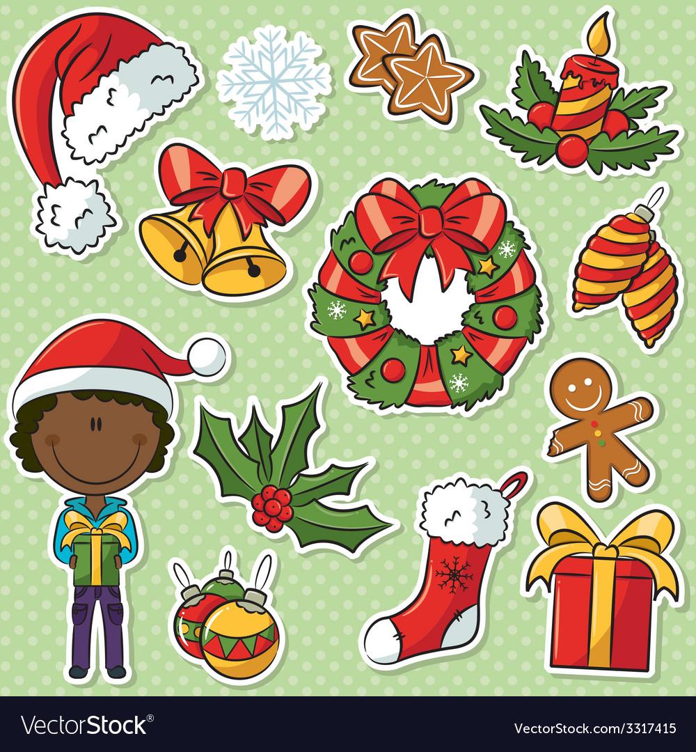 African-american santa boy vector | Price: 1 Credit (USD $1)