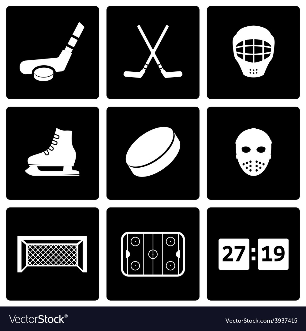 Black hockey icon set vector | Price: 1 Credit (USD $1)