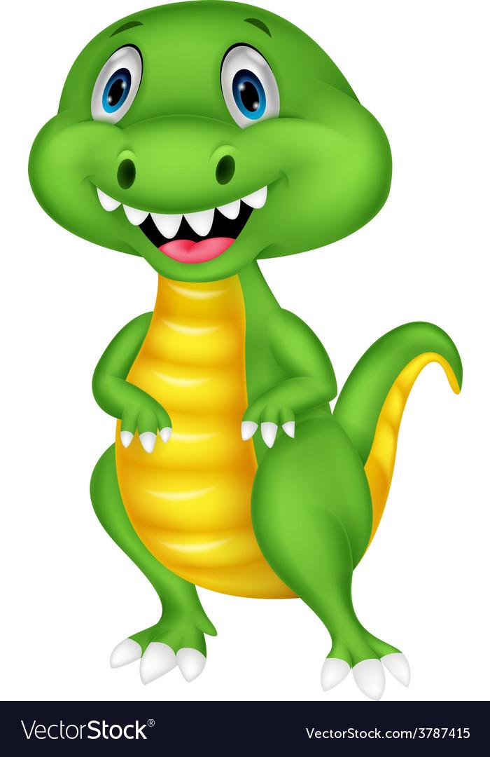 Cute green dinosaur cartoon vector | Price: 1 Credit (USD $1)