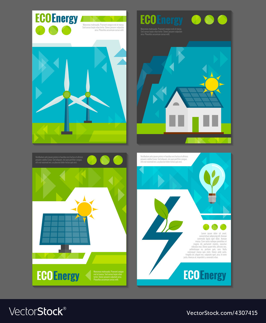 Eco energy icons poster vector | Price: 1 Credit (USD $1)