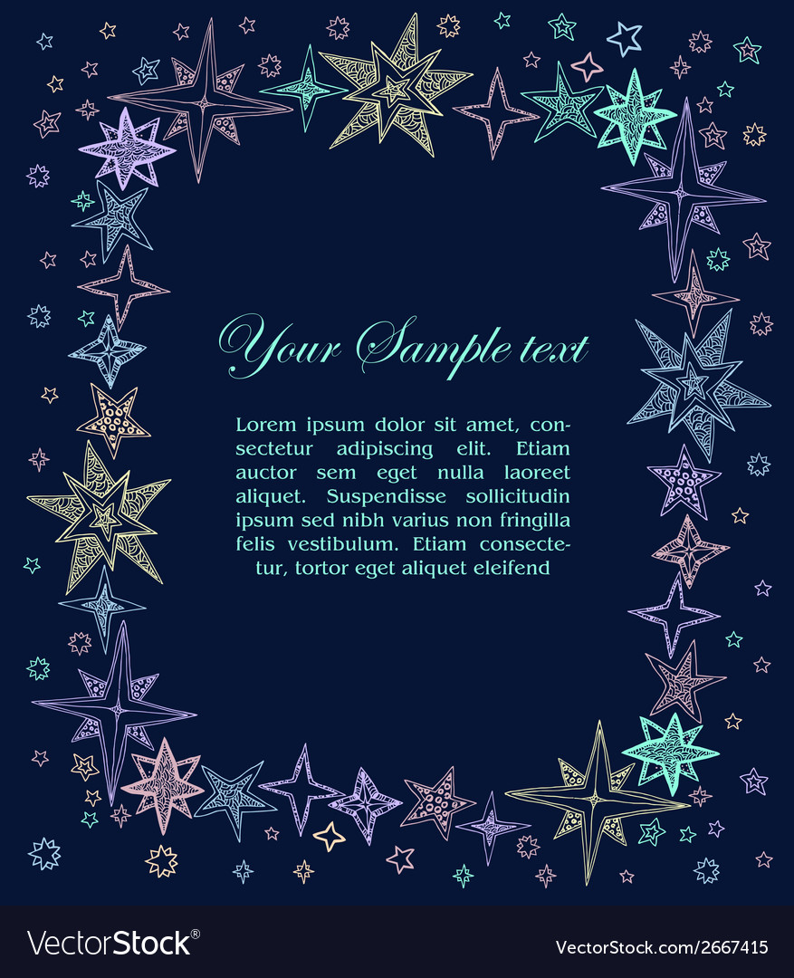 Fantasy starry border vector | Price: 1 Credit (USD $1)