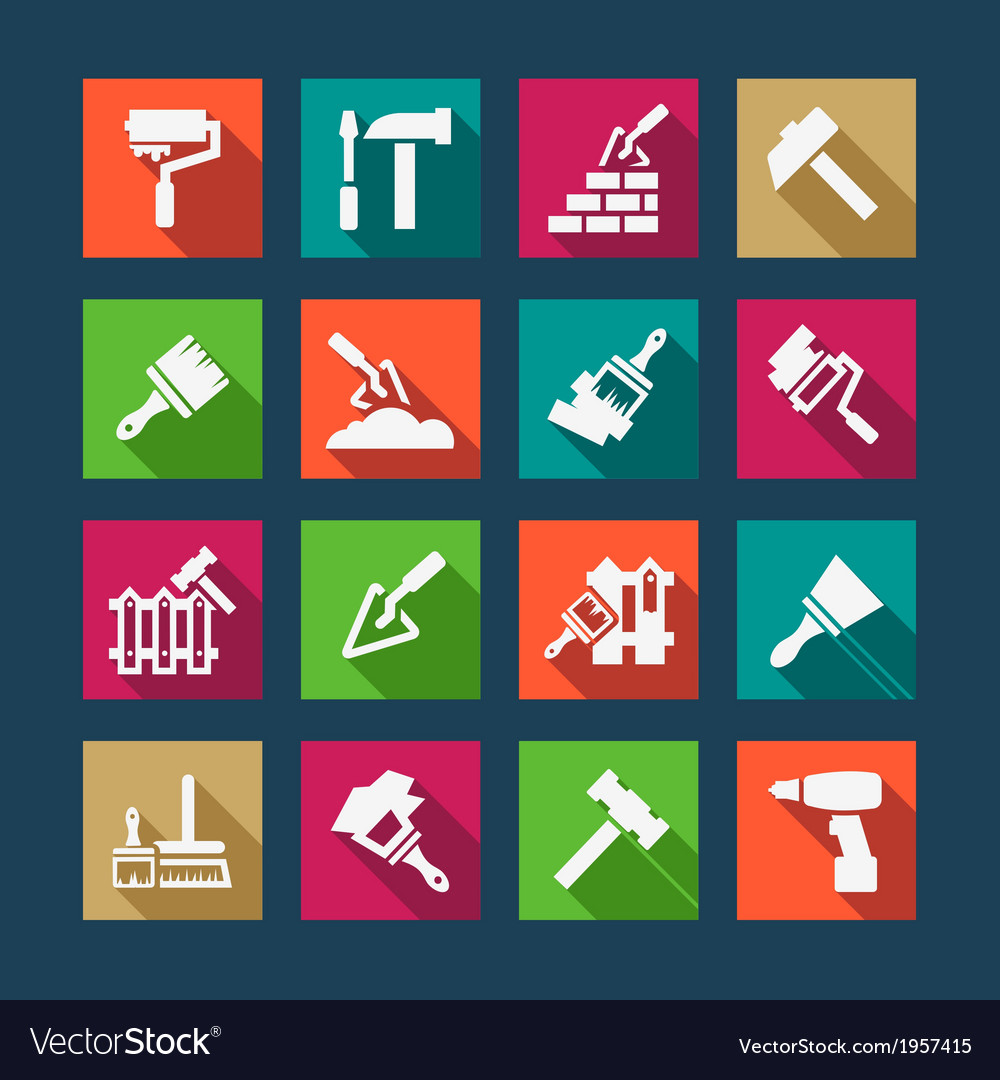 Flat construction and repair icons vector | Price: 1 Credit (USD $1)