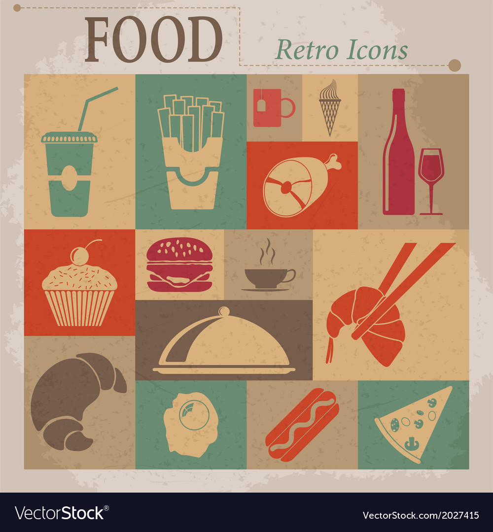Food flat retro icons vector | Price: 1 Credit (USD $1)