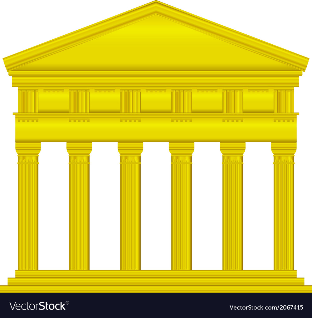 Gold doric temple vector | Price: 1 Credit (USD $1)