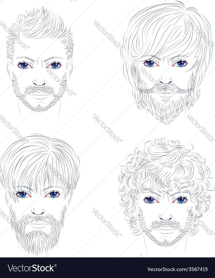 Male fashion hairstyles vector | Price: 1 Credit (USD $1)