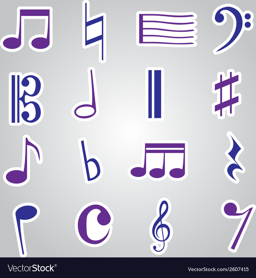 Music note stickers icon set eps10 vector | Price: 1 Credit (USD $1)