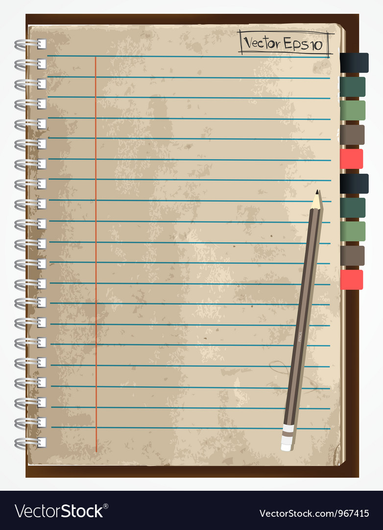 Old paper notebook vector | Price: 3 Credit (USD $3)
