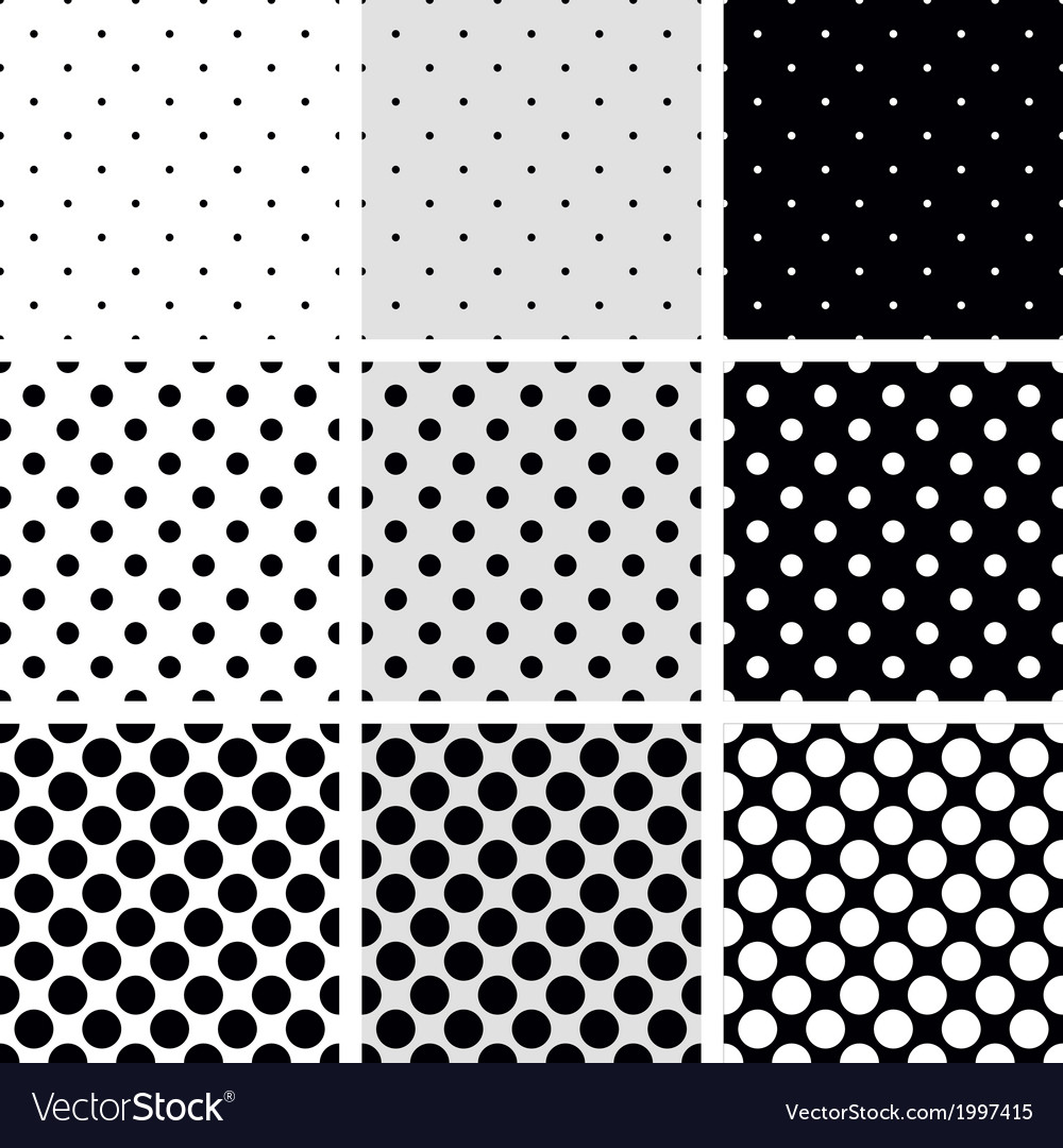 Seamless black and white dots pattern background vector | Price: 1 Credit (USD $1)