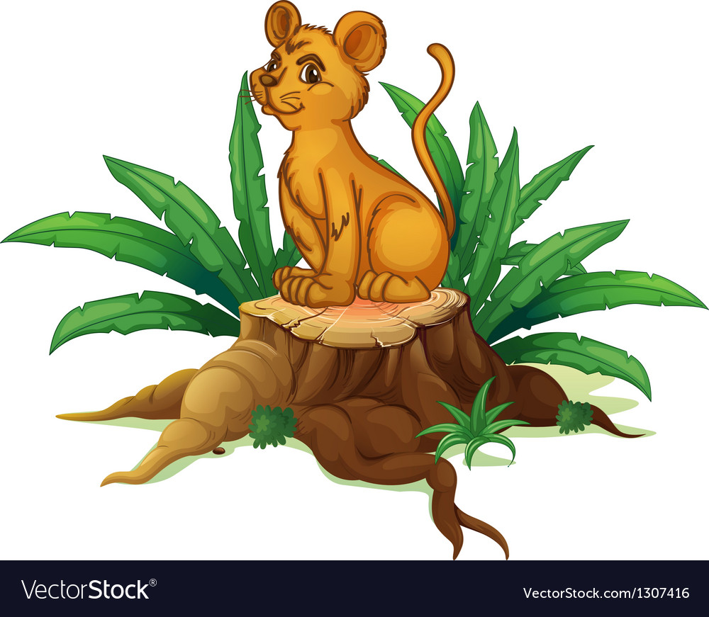 A young tiger sitting above the wood vector | Price: 1 Credit (USD $1)