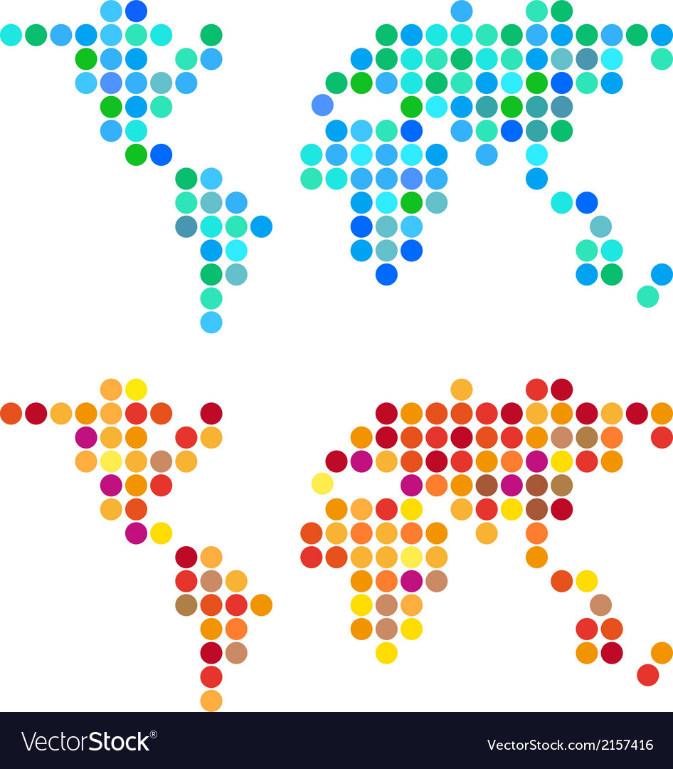 Abstract dot world map set vector | Price: 1 Credit (USD $1)
