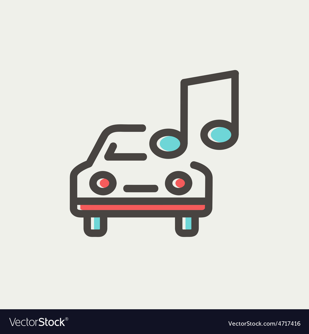 Car with music thin line icon vector | Price: 1 Credit (USD $1)