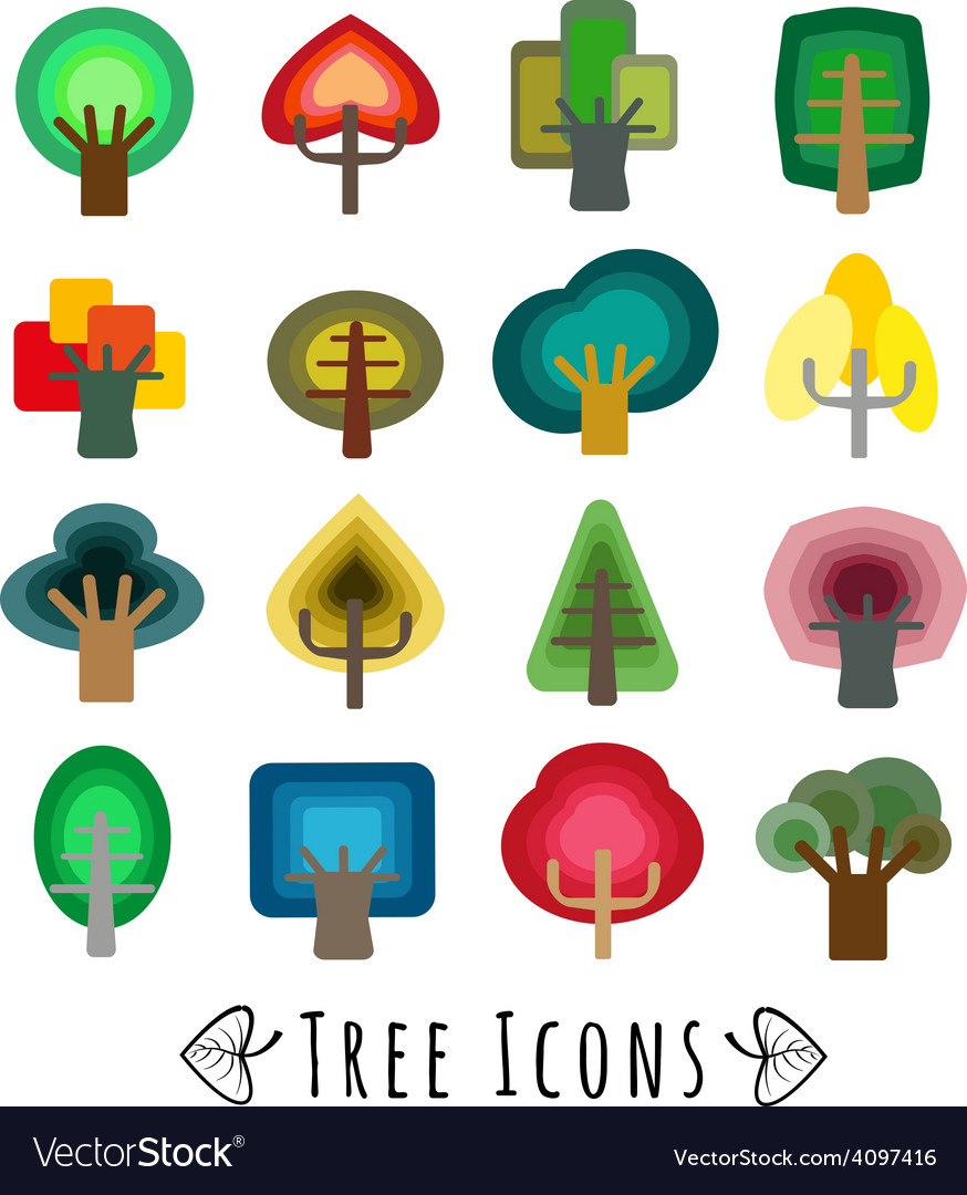 Colorful trees vector | Price: 1 Credit (USD $1)