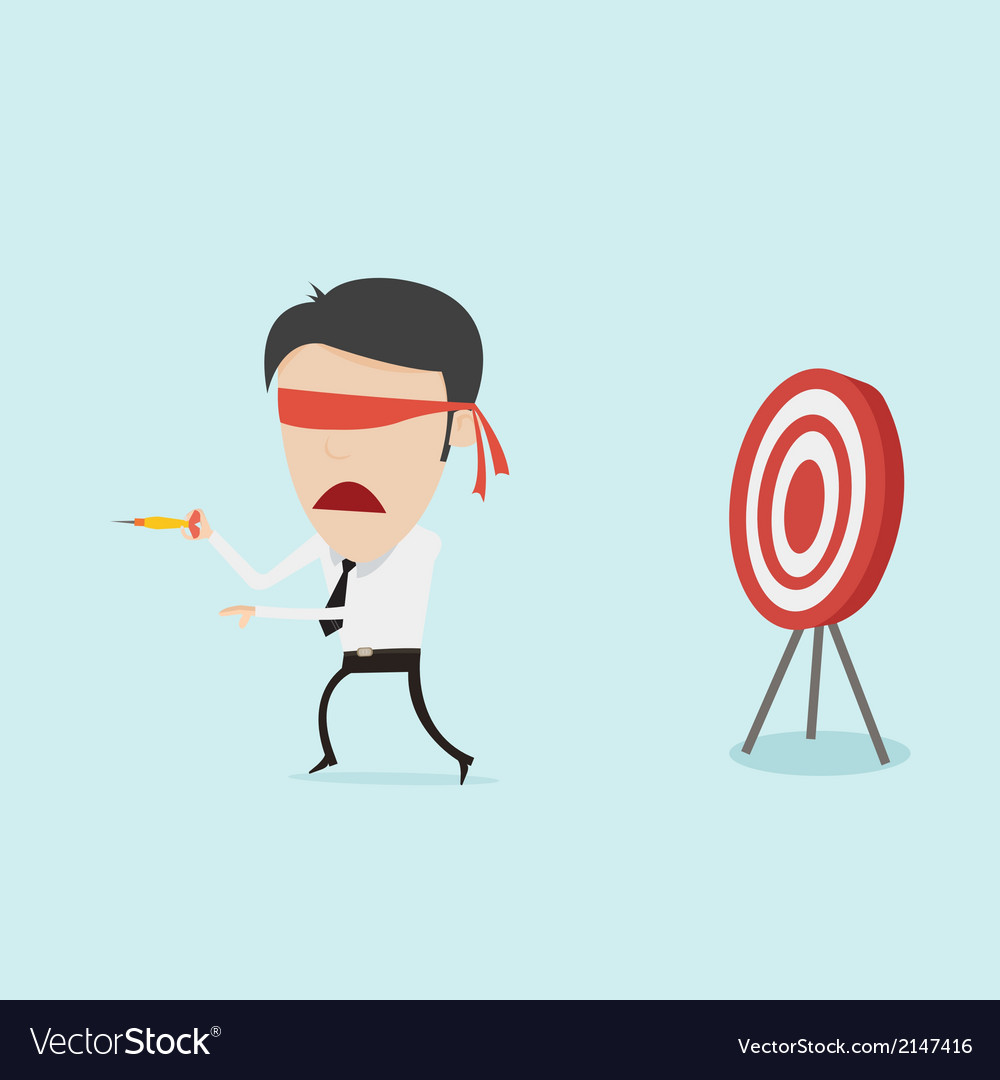Confused blindfold businessman try to hit a target vector | Price: 1 Credit (USD $1)