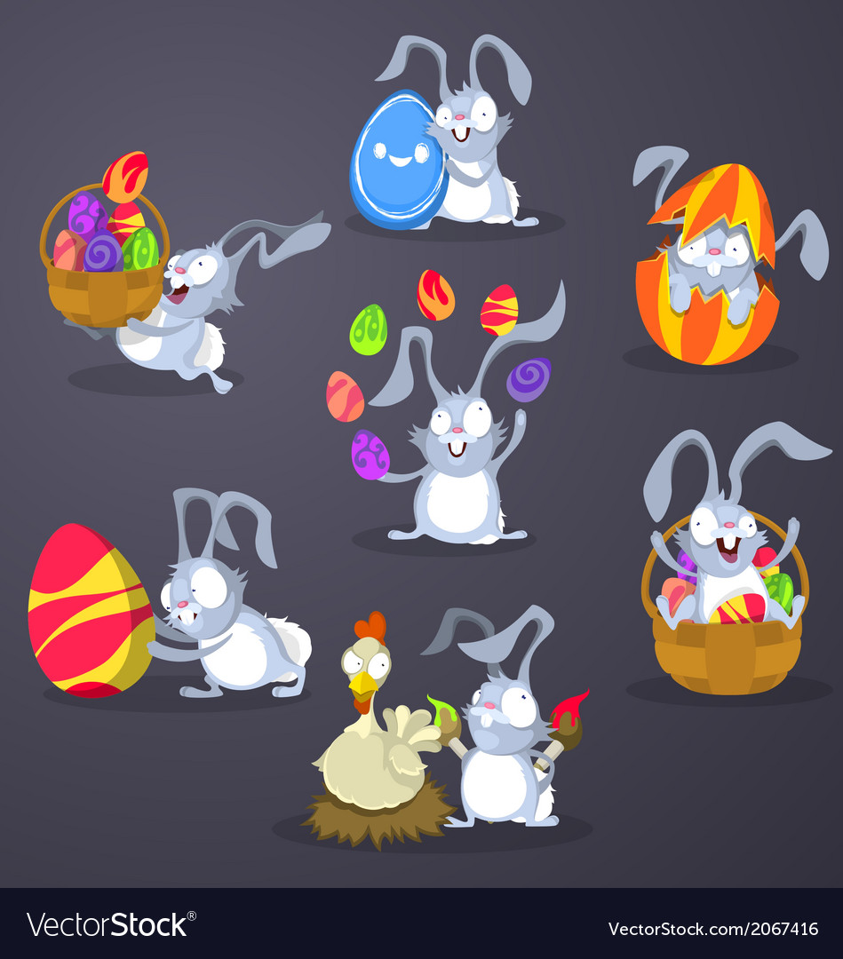 Easter rabbits with eggs vector | Price: 1 Credit (USD $1)