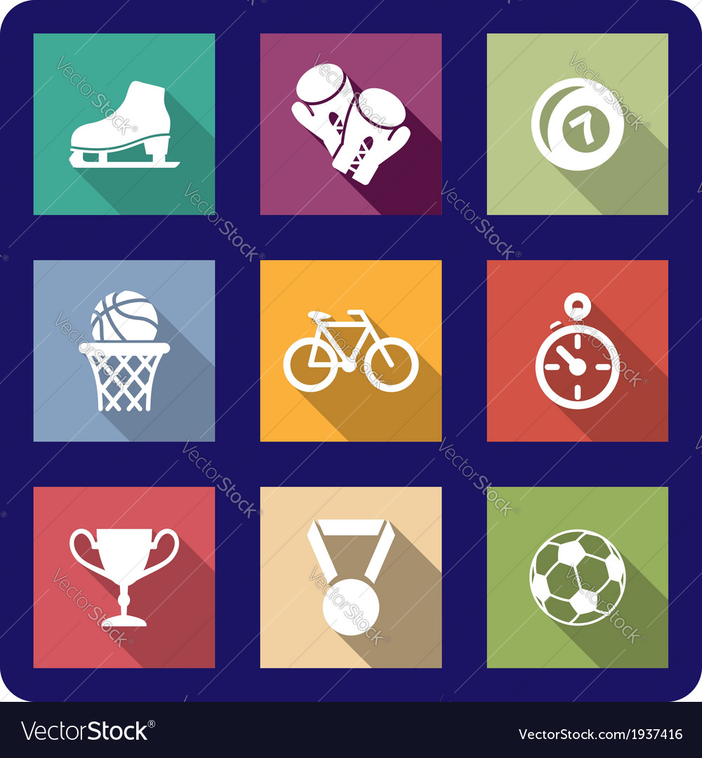 Flat sporting icons set vector | Price: 1 Credit (USD $1)