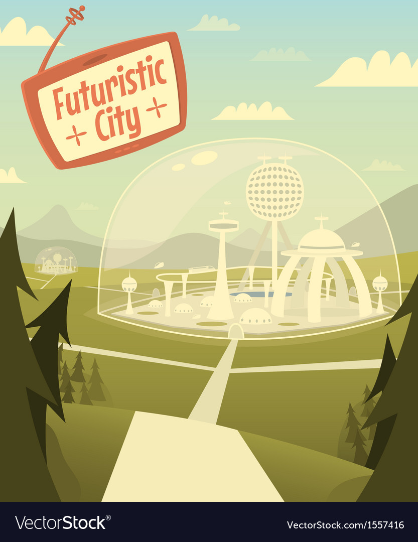 Futuristic city vector | Price: 3 Credit (USD $3)