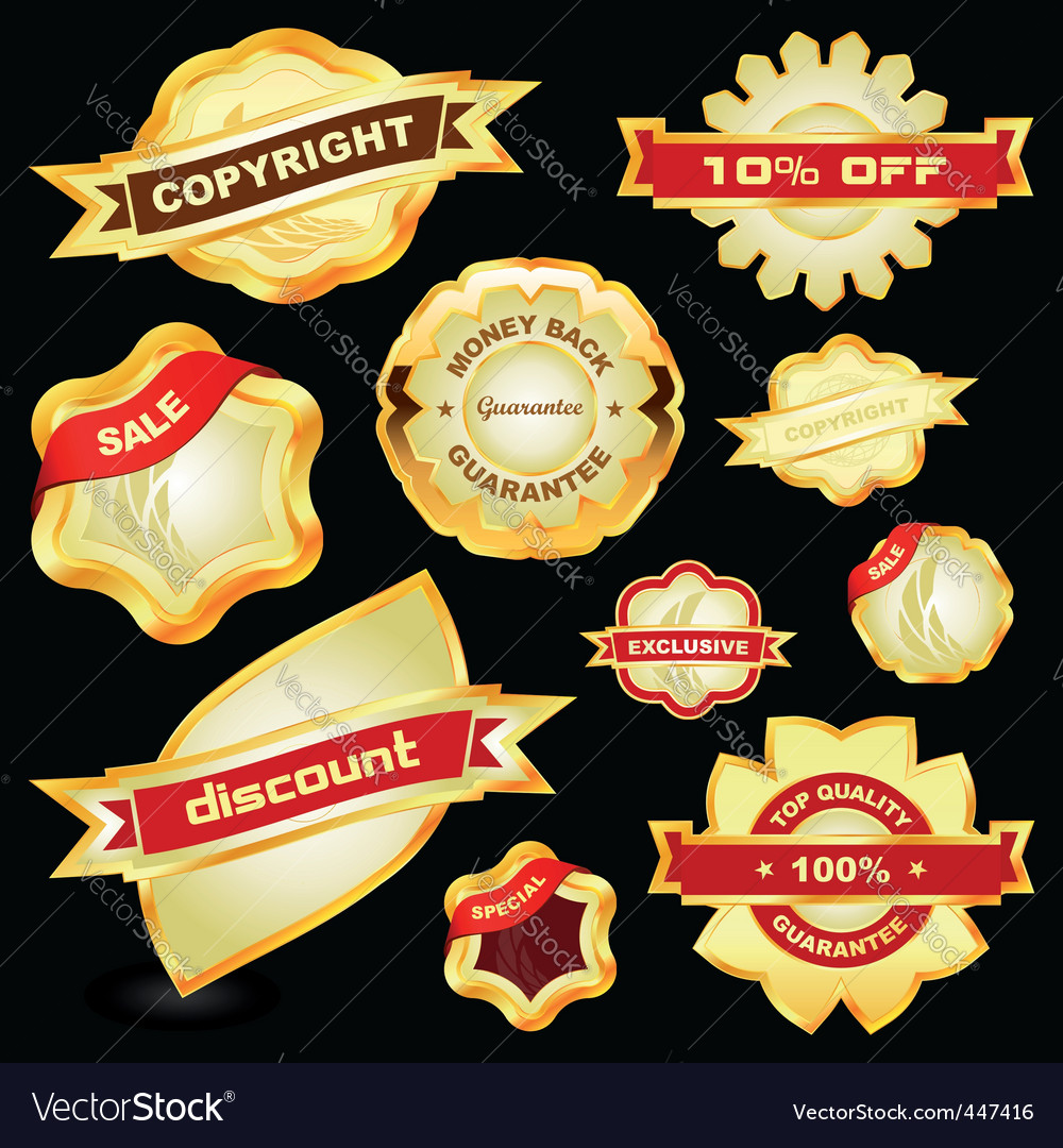 Guarantee label set vector | Price: 1 Credit (USD $1)