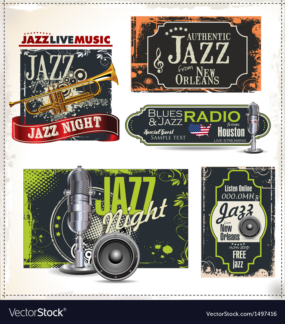 Jazz music labels set vector | Price: 3 Credit (USD $3)