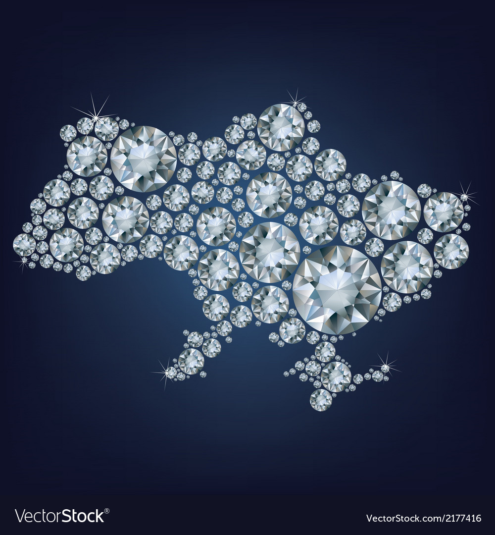 Map of ukraine made from diamonds vector | Price: 1 Credit (USD $1)
