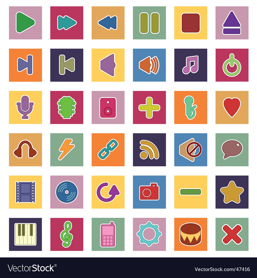 Music and media icons vector | Price: 1 Credit (USD $1)