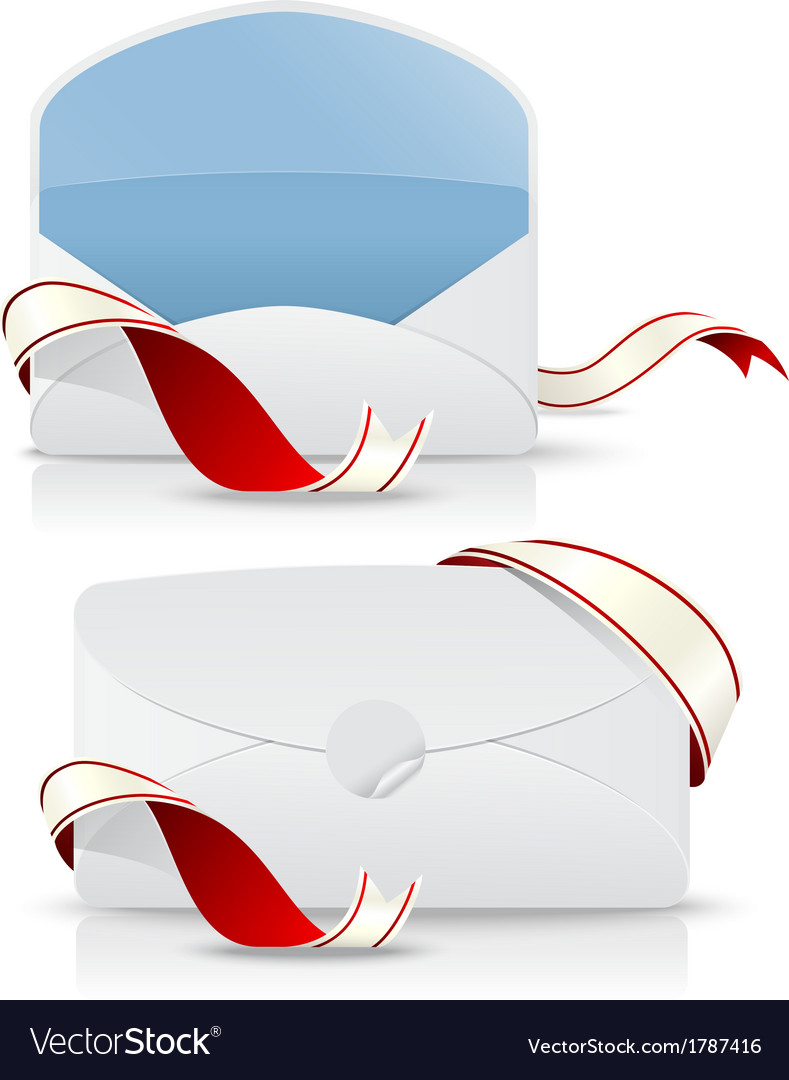 Realistic envelope with red ribbon vector | Price: 1 Credit (USD $1)