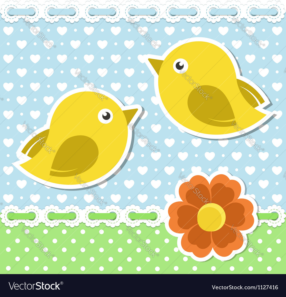 Romantic card with birds and flower vector | Price:  Credit (USD $)