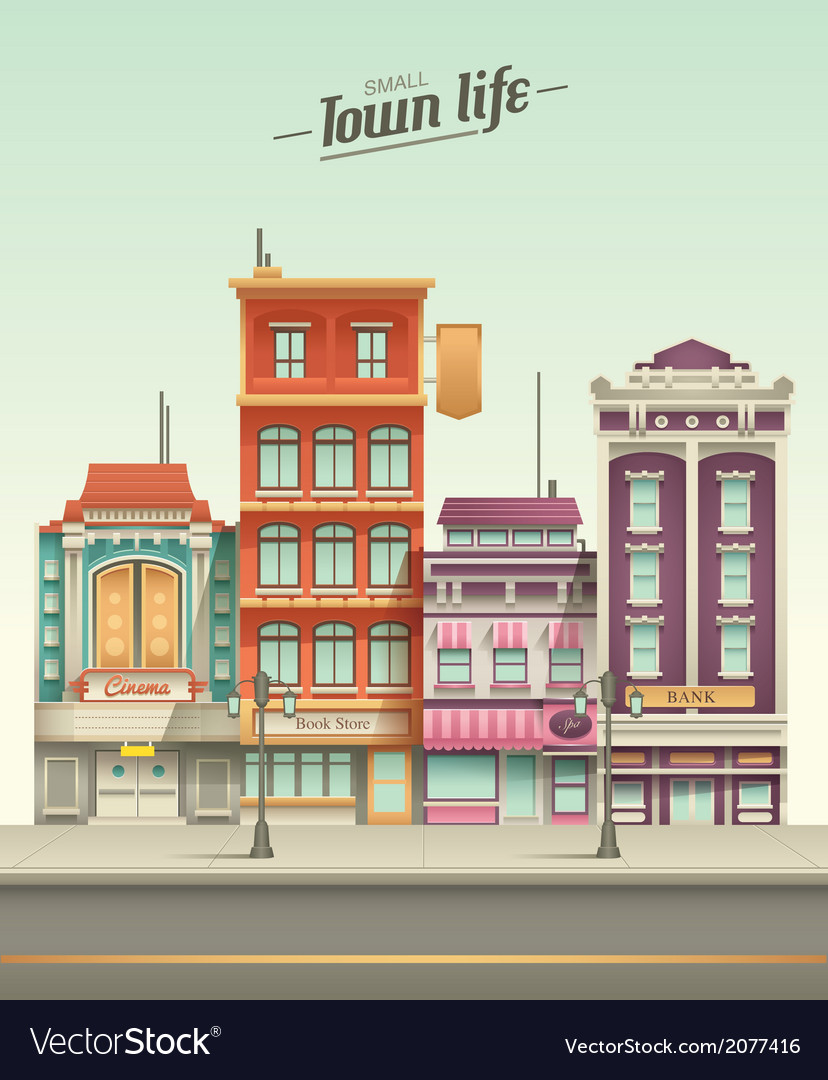 Small town street view with retro colors vector | Price: 1 Credit (USD $1)