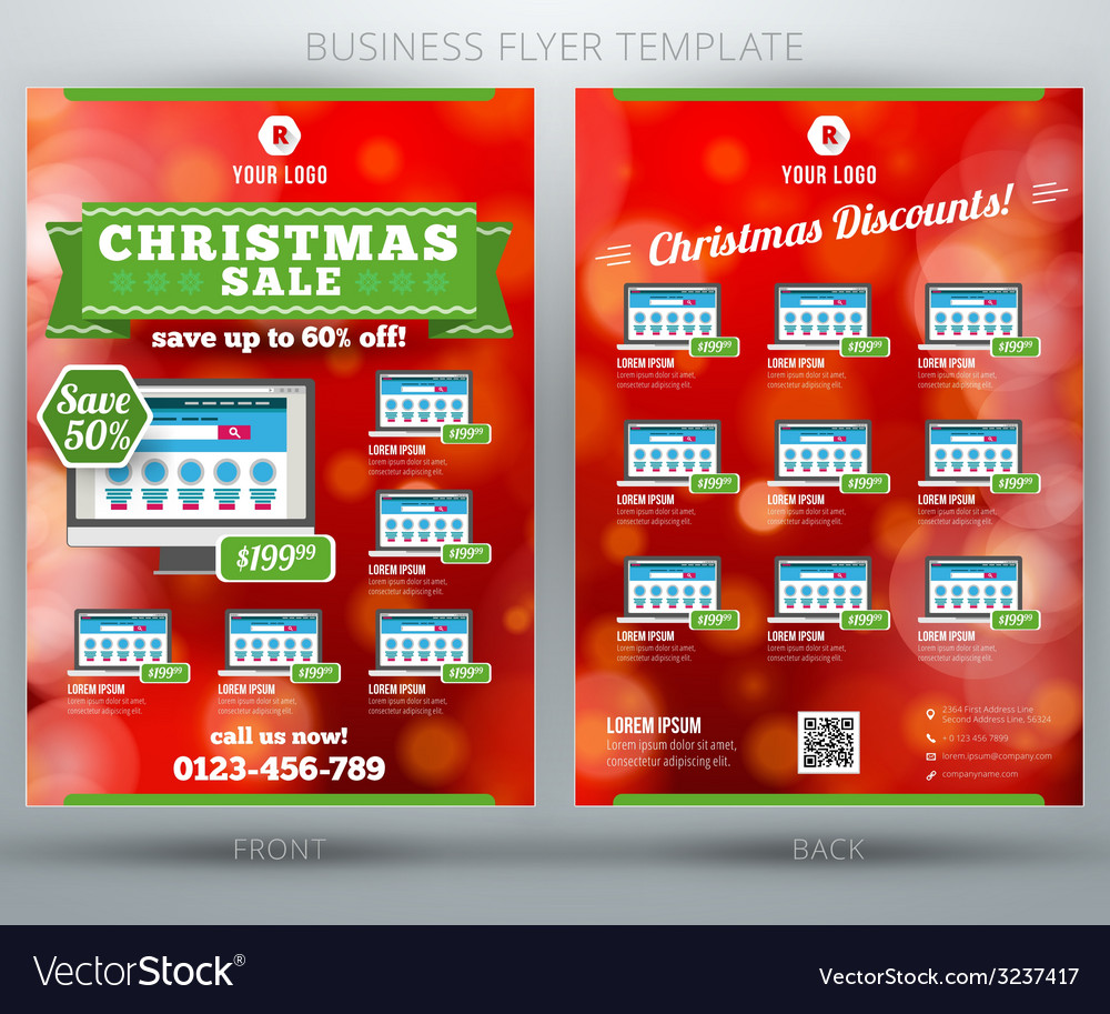 Christmas sale business flyer template eps10 vector | Price: 1 Credit (USD $1)