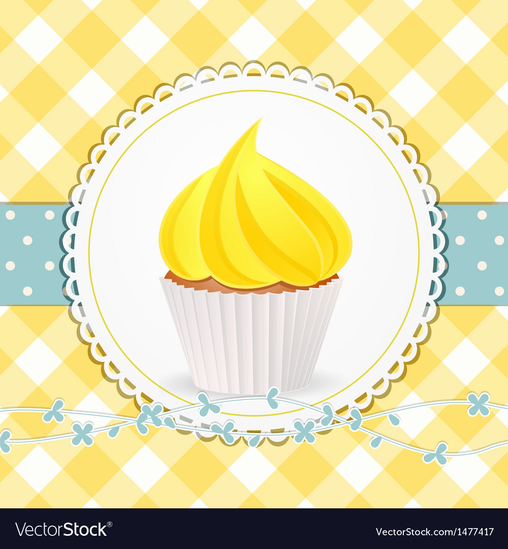 Cupcake with yellow icing on yellow gingham vector | Price: 1 Credit (USD $1)