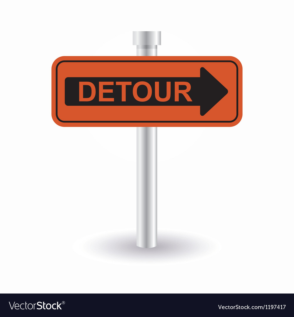 Detour sign vector | Price: 1 Credit (USD $1)
