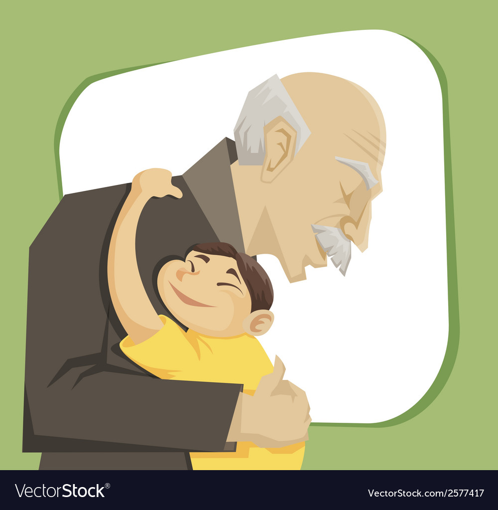 Grandfather and grandchild vector | Price: 3 Credit (USD $3)