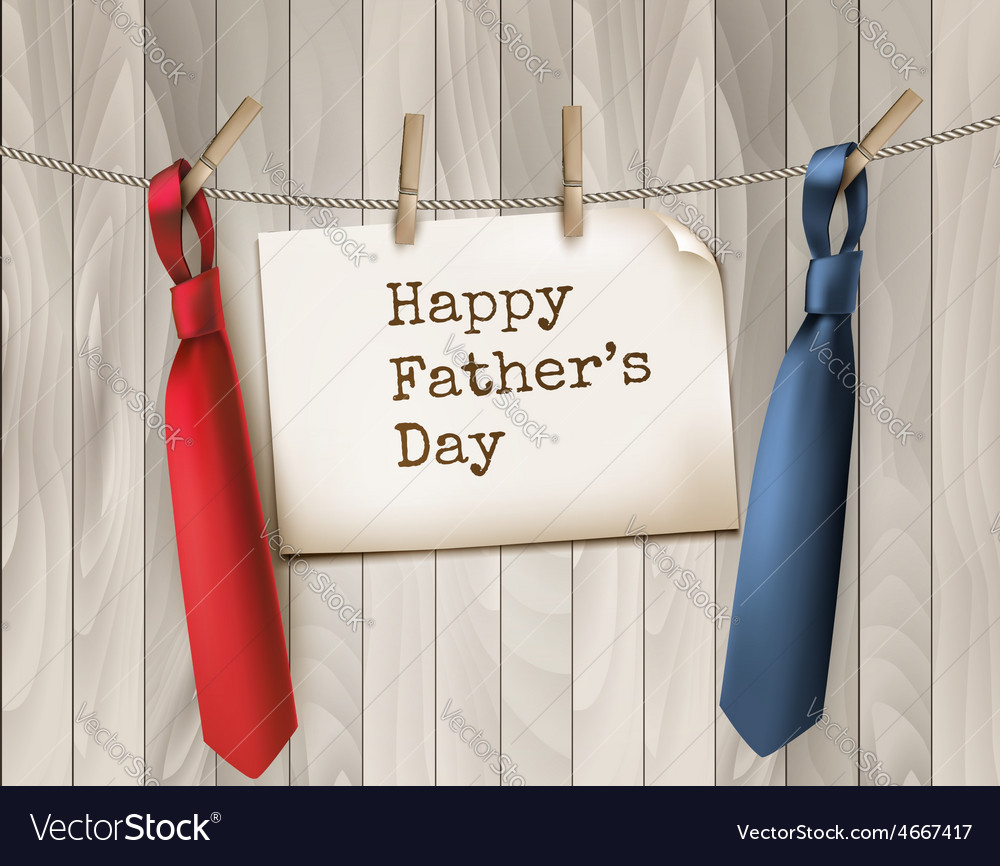 Happy fathers day background with a two ties on vector | Price: 3 Credit (USD $3)