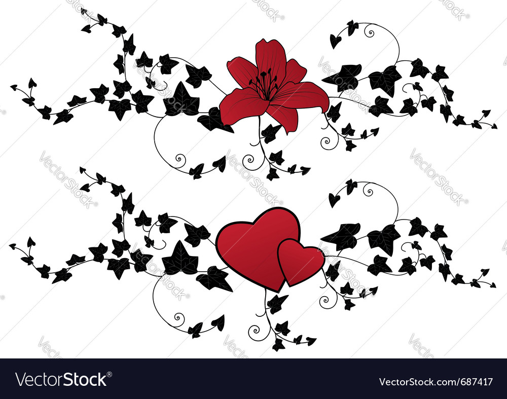 Lily hearts and ivy vector | Price: 1 Credit (USD $1)