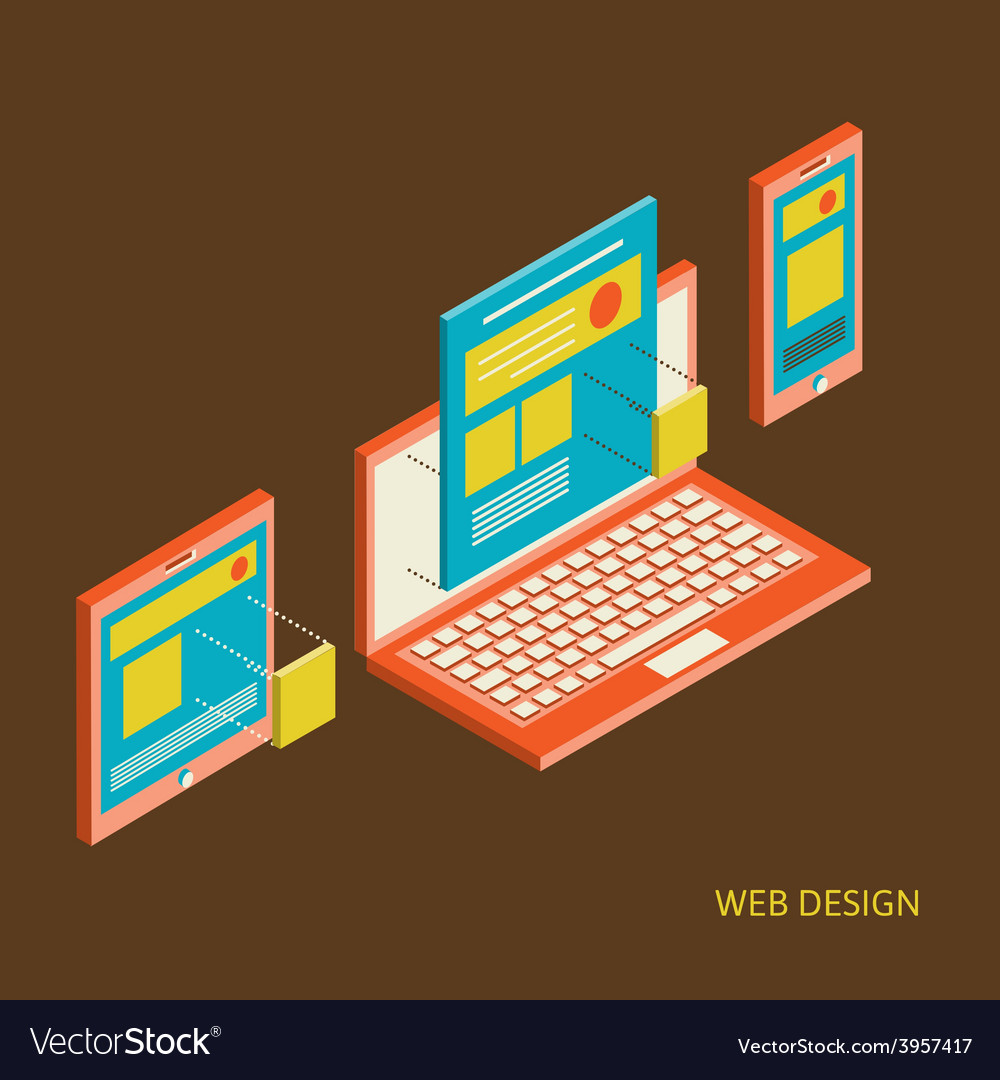 Mobile and desktop website design development vector | Price: 1 Credit (USD $1)