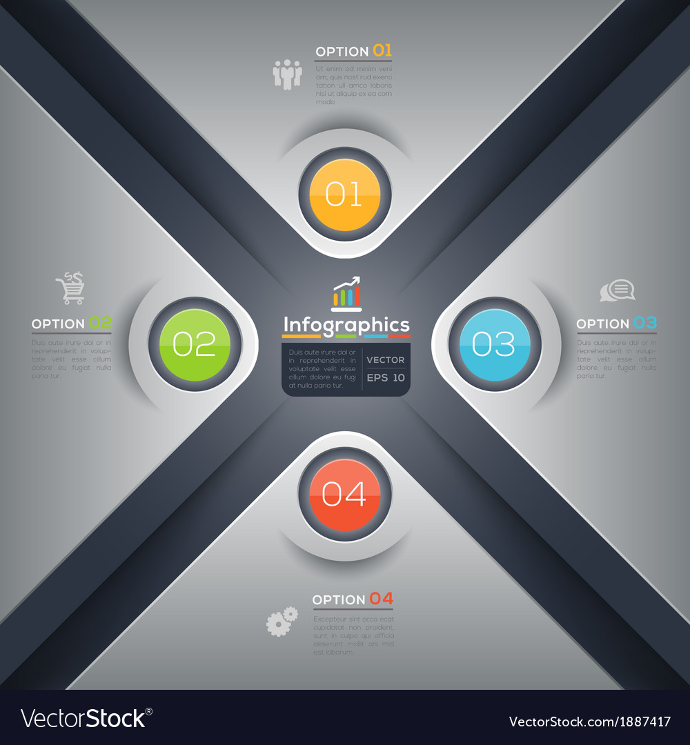Modern business x shape infographics layout vector | Price: 1 Credit (USD $1)