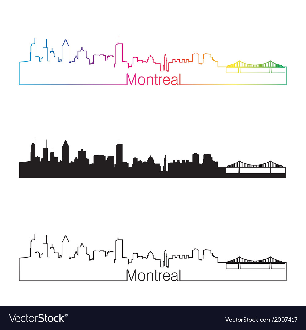 Montreal skyline linear style with rainbow vector | Price: 1 Credit (USD $1)