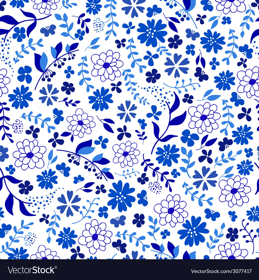Seamless pattern from blue flowers vector   Price: 1 Credit (USD $1)