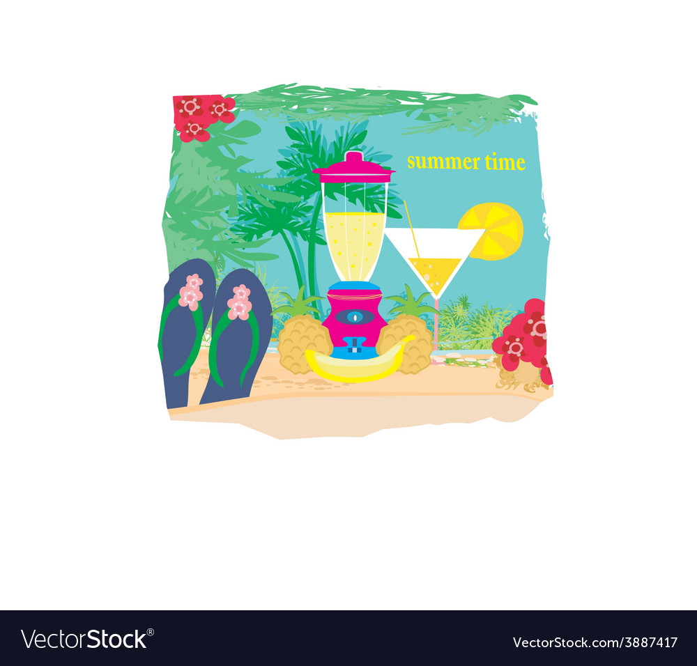 Summer background with palm trees and fruity drink vector | Price: 1 Credit (USD $1)