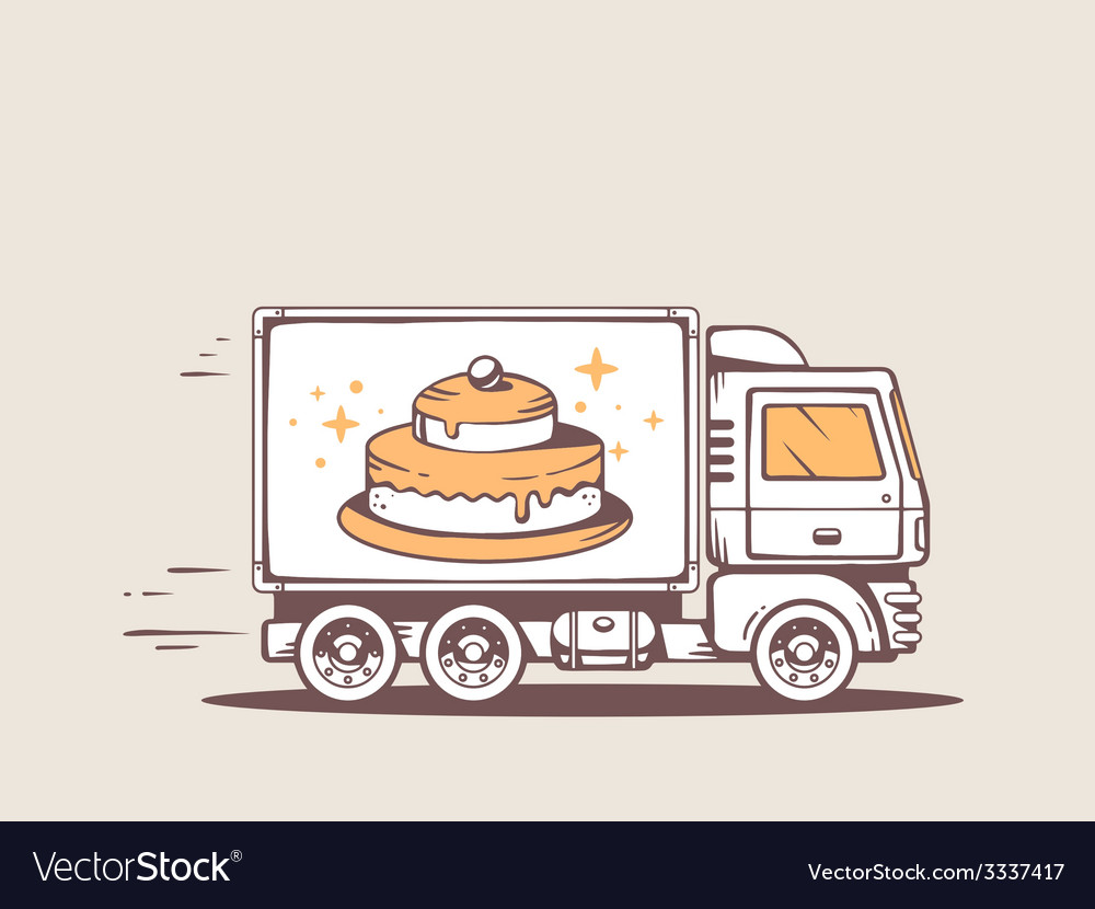 Truck free and fast delivering cake to cu vector | Price: 3 Credit (USD $3)