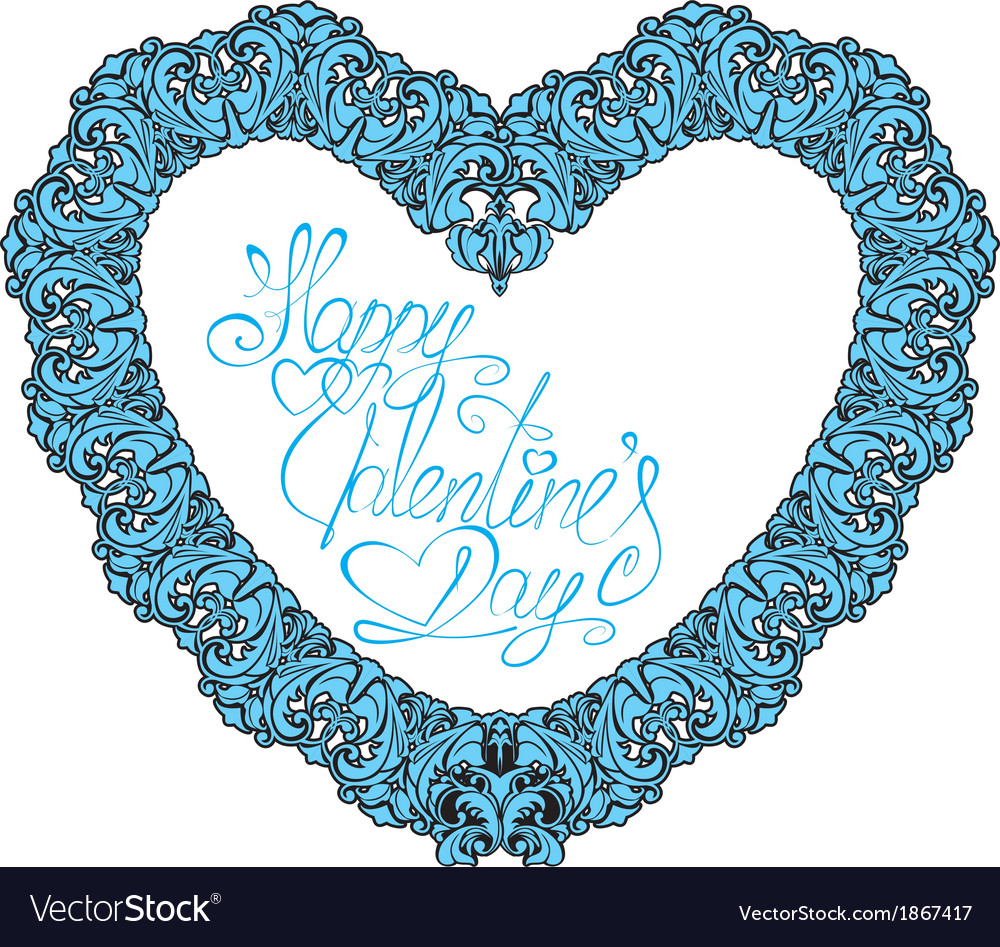 Vintage ornamental heart shape with calligraphic t vector | Price: 1 Credit (USD $1)