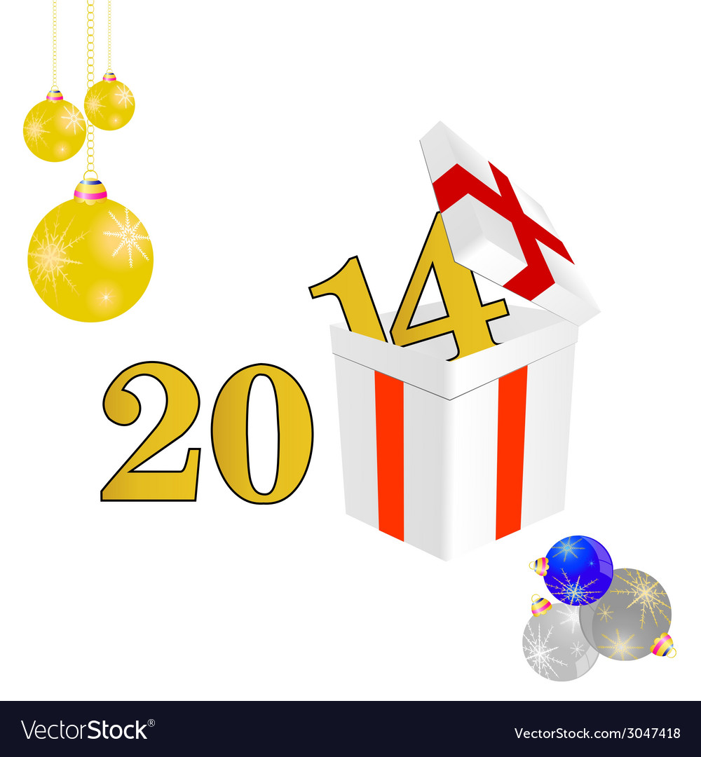 2014 year with a package and christmas ball color vector | Price: 1 Credit (USD $1)